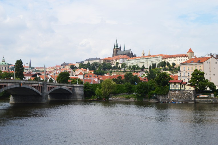View of the Vltava River and Prague Castle